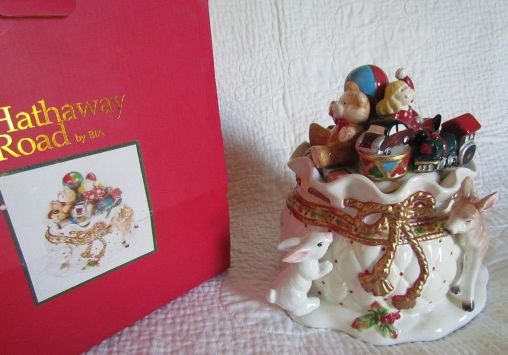 HATHAWAY Santa Claus Christmas Toy Sack Deer Bunny Cookie Jar NEW IN BOX