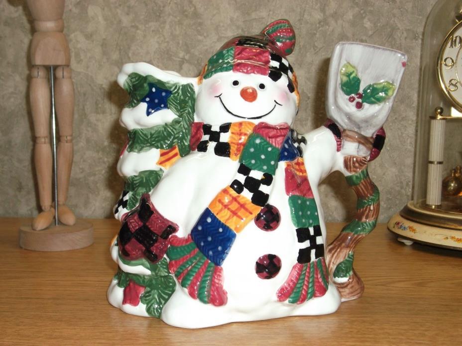 Happy Ceramic Holiday Snowman Pitcher