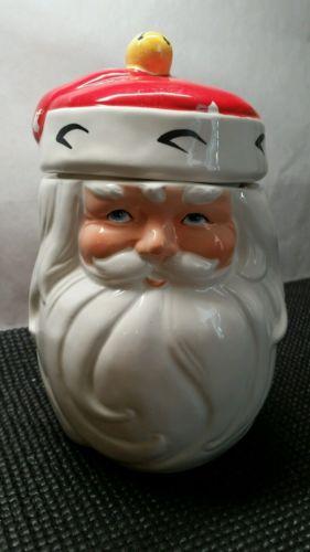 334. Vintage 8 inch tall Santa cookie/candy jar.