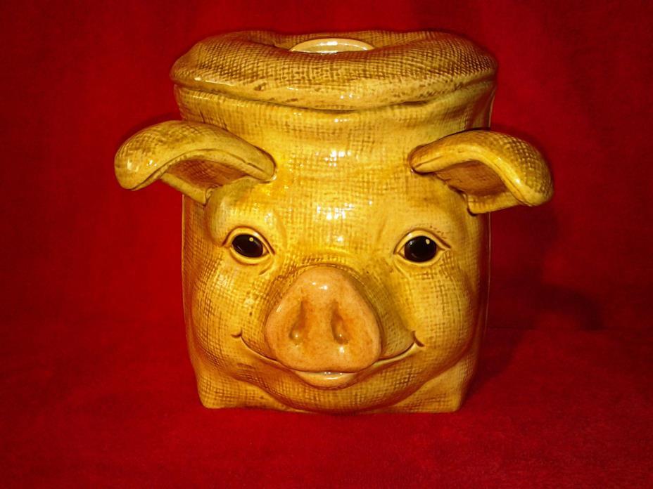 Ceramic Hand Painted Beige Tan Pig Cookie Jar