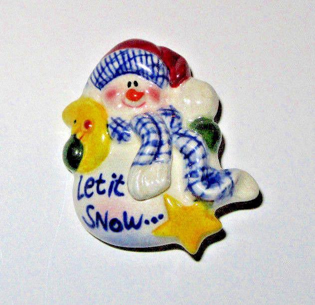 Ceramic Snowman Pin