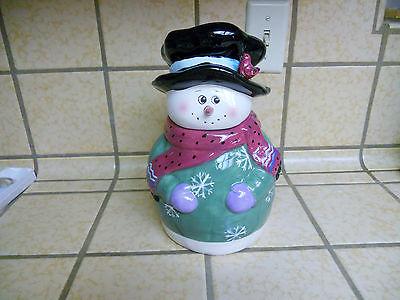 Snowman Cookie Jar Christmas Holiday Season Decoration Ceramic Cookie Jar