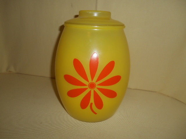 Rare Retro Mod Hippie MCM Bartlett Collins Yellow w/ Orange Flower Cookie Jar