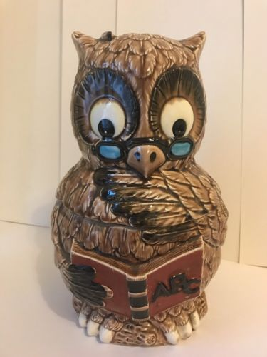 "Vintage Wise Old Professor Owl Teacher With ABC School Book 12"" Cookie Jar"