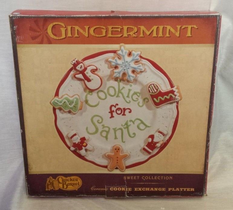 Cracker Barrel Ginger Mint Cookies For Santa Plate Large