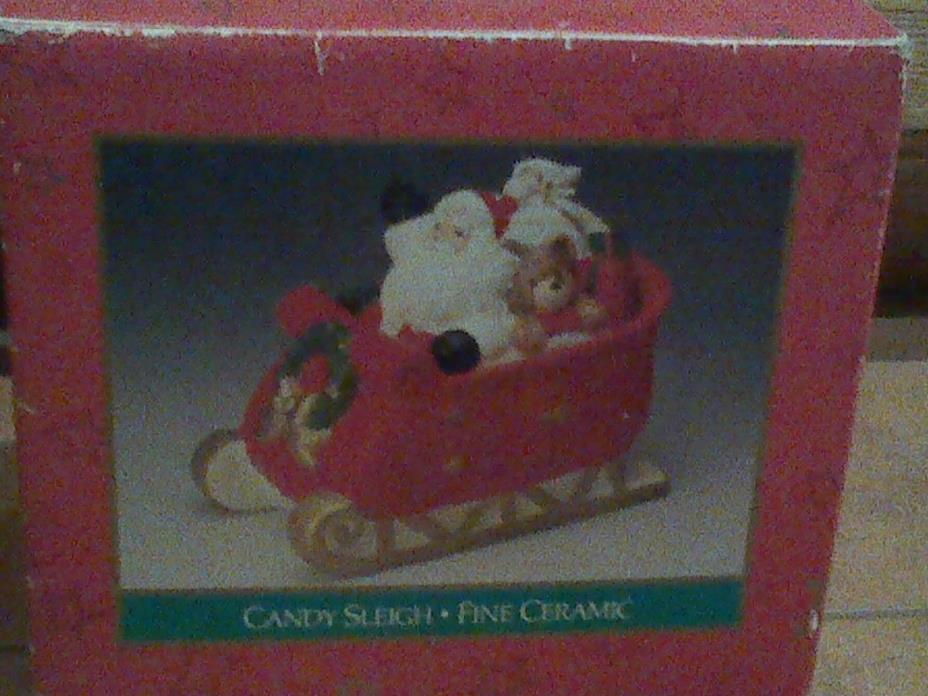 Hand Painted Candy Santa in Sleigh, Cookie Jar. Mervyns Christmas Collectibles