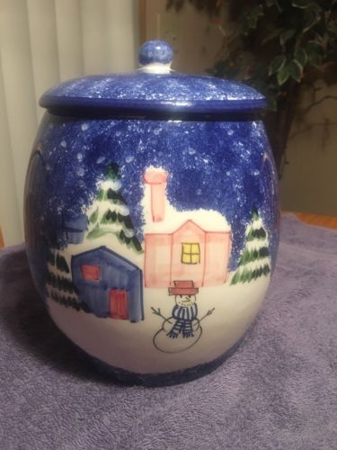 Winter Snowman MARKETPLACE Cookie Jar Christmas Holiday 1999