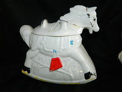 antique hand painted rocking horse cookie jar