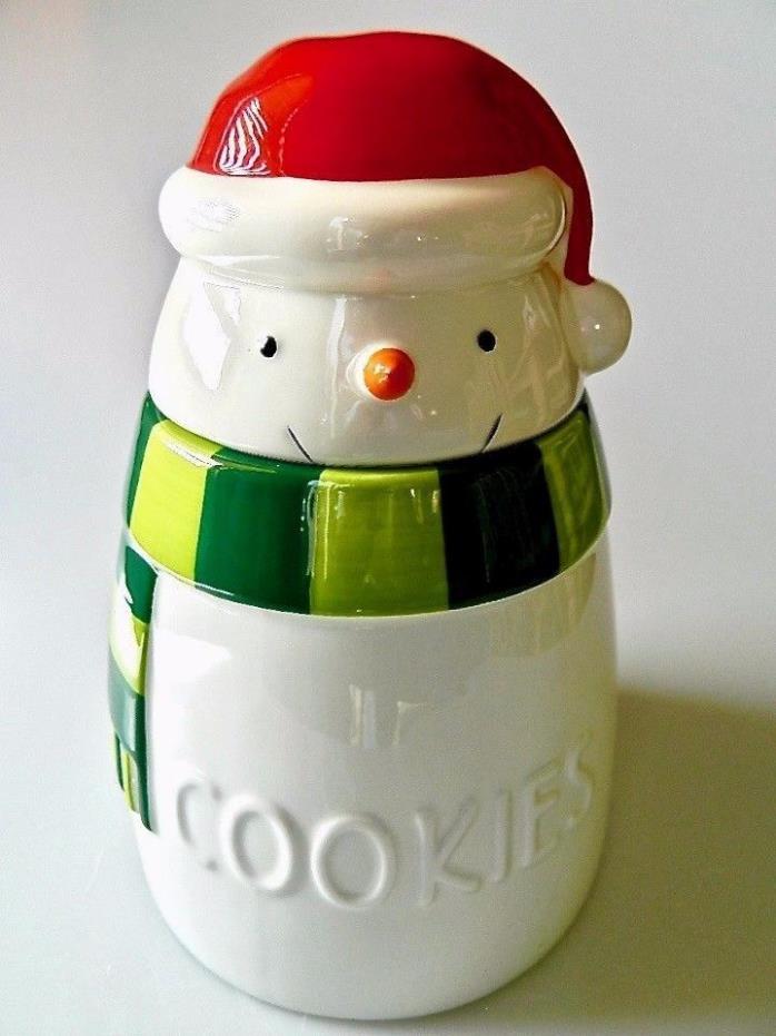 Hallmark Snowman Christmas Holiday Cookie Jar Red Santa Hat Ceramic 9