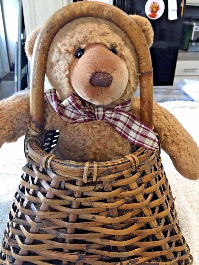 Cute Brown Hugable Teddy Bear and a Basket