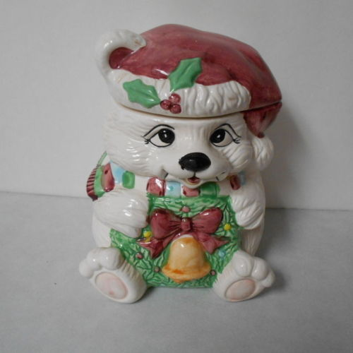 Teddy Bear Cookie / Goodie Jar Christmas Holiday Canister