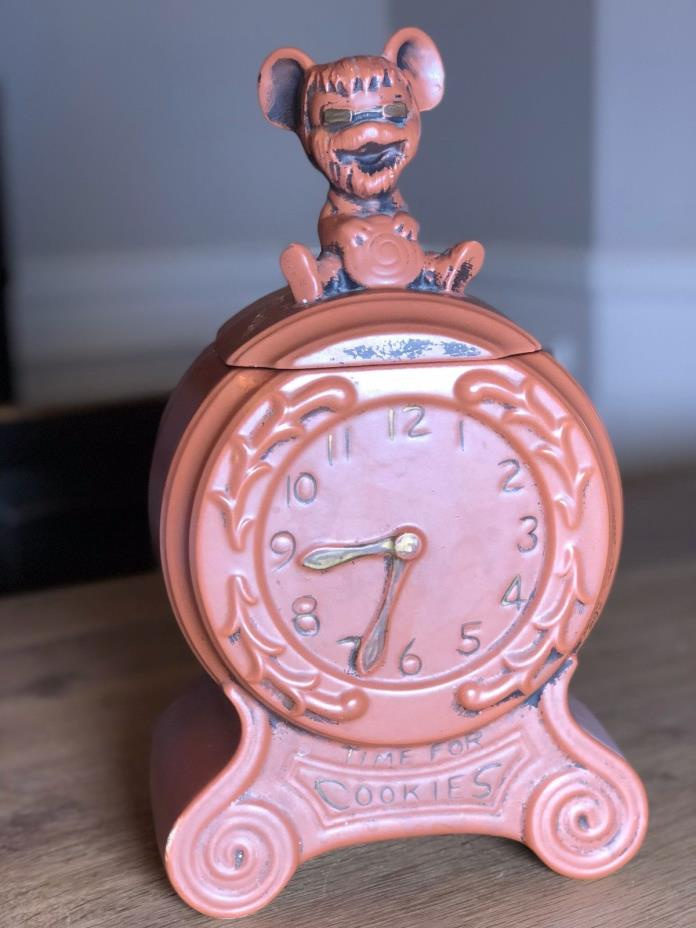 Vintage Cookie Jar - Time For Cookies - Hickory Dickory Dock Mouse