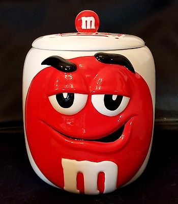 Red M&M Cookie Jar 2003 Mars Candy Gallerie Ceramic Container