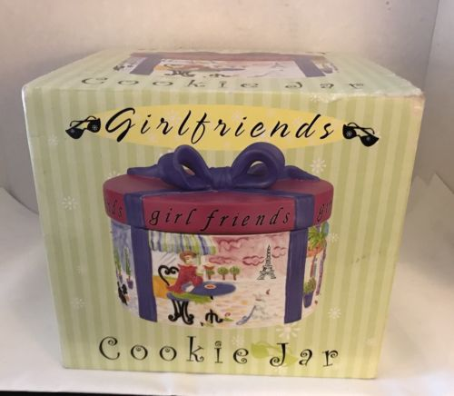 Jennifer Brinley ''Girl Friends'' Hat Box Cookie Jar New m177 Certified Intl