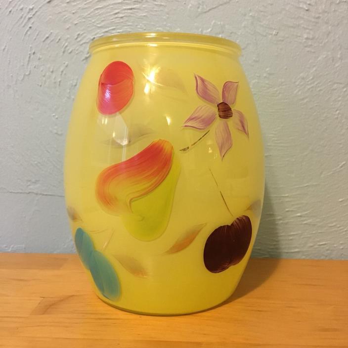 Vintage Bartlett Collins Yellow Floral Fruit Gold Cookie Jar Pear