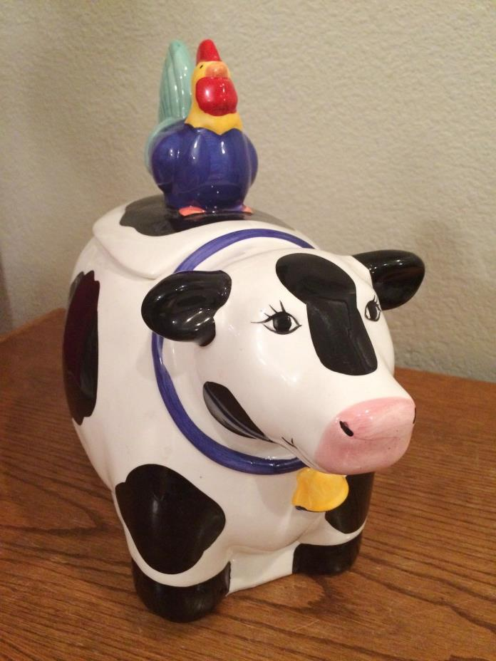 Rooster & Cow Cookie Biscuit Jar Coco Dowley Colorful Ceramic 11 inches CIC 1987