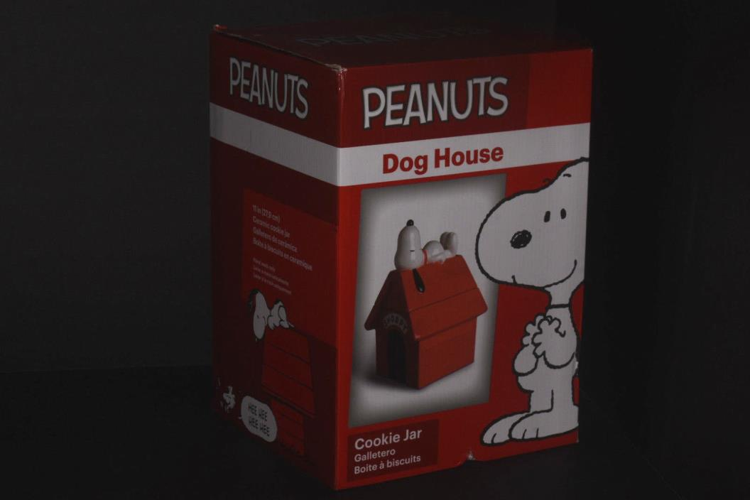 Gibson Peanuts Snoopy Dog House 11 Ceramic Cookie Jar Large Treat/Food Container