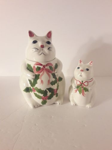 N.S. Gustin Co Hand Decorated Cat Cookie Jar & Sugar bowl Holly Design Christmas