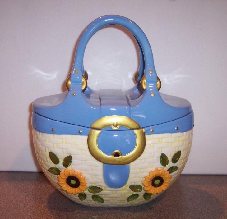 Purse Handbag Sunflower Rhinestone Ceramic Cookie Jar - VGC