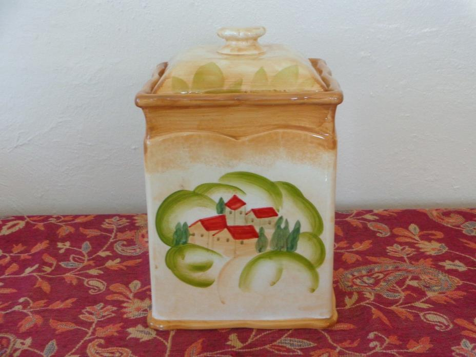 COVENTRY VILLA TUSCANA COOKIE JAR, HAND PAINTED SCENES, BROWN, RED, GREEN, WHITE