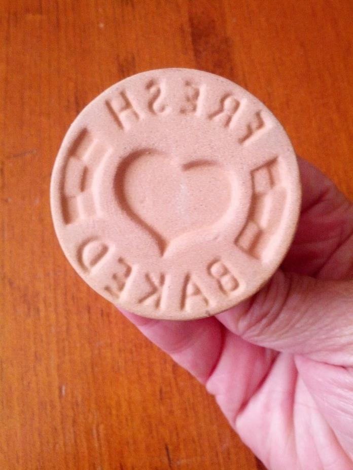 Vintage ShakerHearth Brand Ceramic Glazed Cookie Stamp - Fresh Baked with Heart