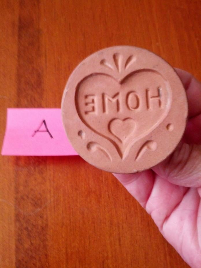 Vintage ShakerHearth Brand Ceramic Glazed Cookie Stamp - Heart & Home~#A