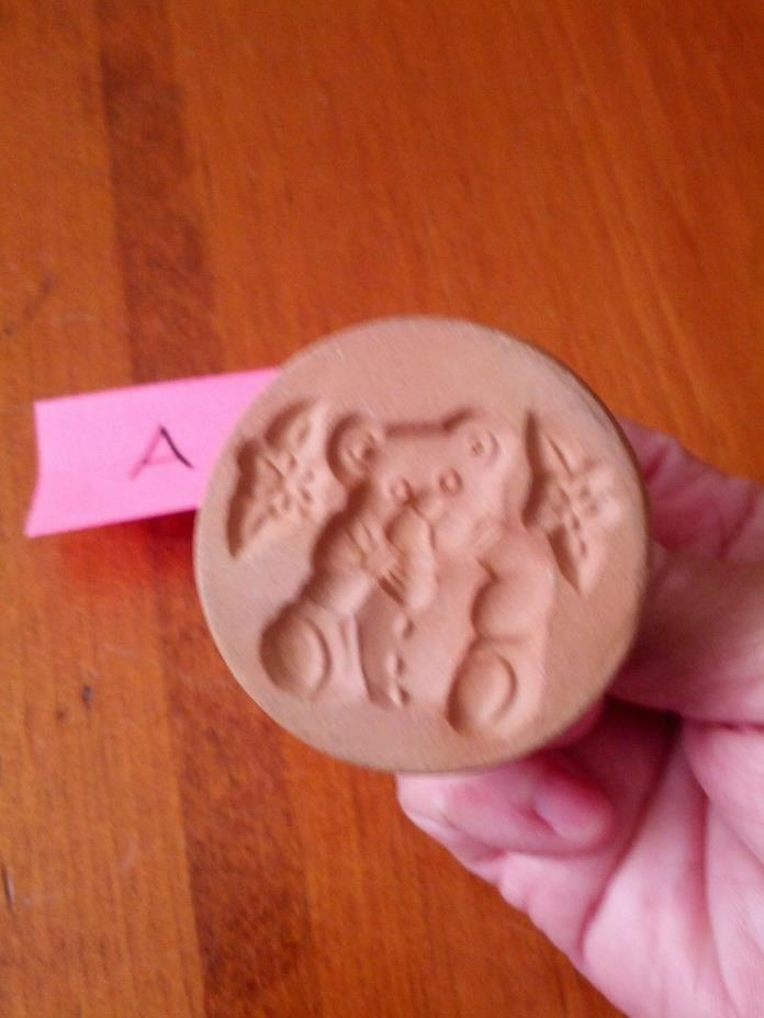 Vintage ShakerHearth Brand Ceramic Glazed Cookie Stamp - Teddy Bear & Flowers #A