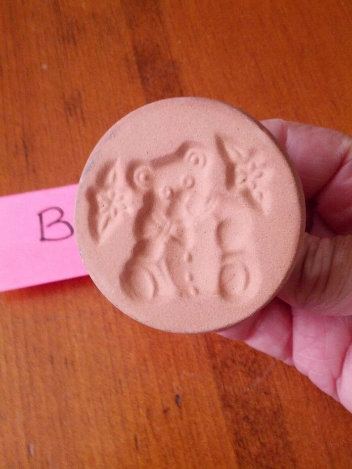 Vintage ShakerHearth Brand Ceramic Glazed Cookie Stamp - Teddy Bear & Flowers #B