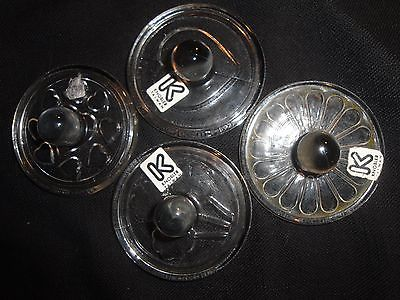 (1259) Knobler Hand Blown Glass Cookie Stamp Set of 4 w/ Heart Flower Shamrock