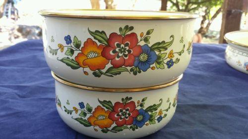 Enamelware Enamel Nesting Bowl Set of 2 Flowers Floral Heavy Duty Brass Rim Bake