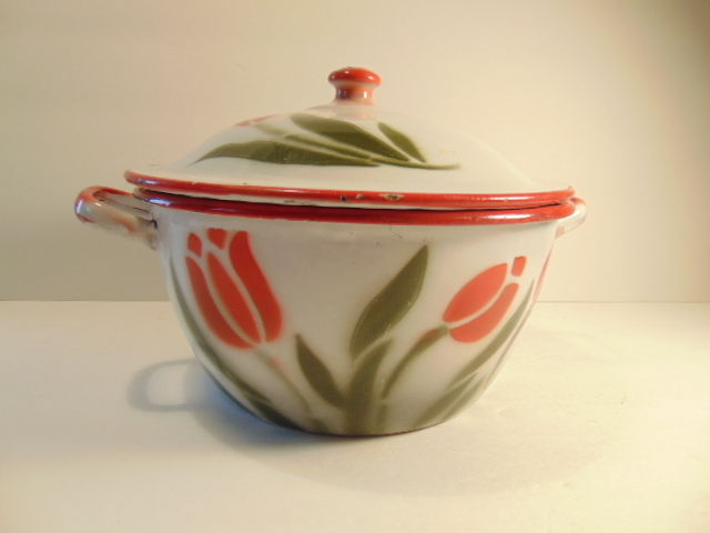 Vintage enameled covered dish or pan with tulip design in enamel