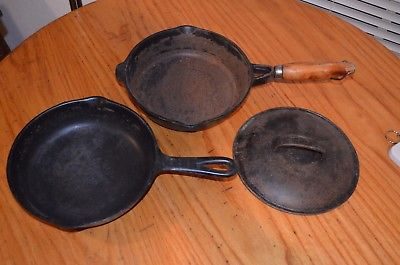 3 PCS Cast Iron Cookware Set Skillets 9 inch 8 inch w/LID Fry Pans 50+ yrs old