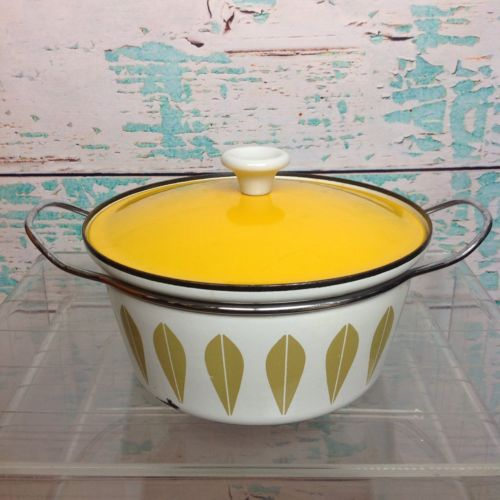 Vtg Cathrineholm Yellow Enamel Pot Lotus Enamelware Mid Century Mod Mustard 60s