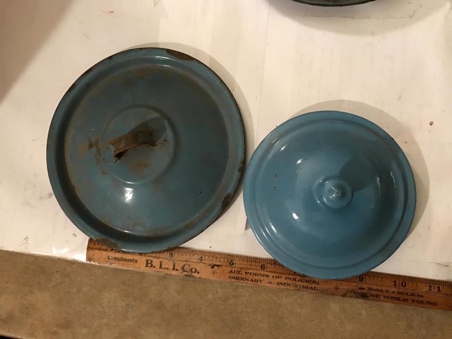 2 Vintage Enamelware Blue Cooking Pot Lids Saucepot and Coffe Pot Lids