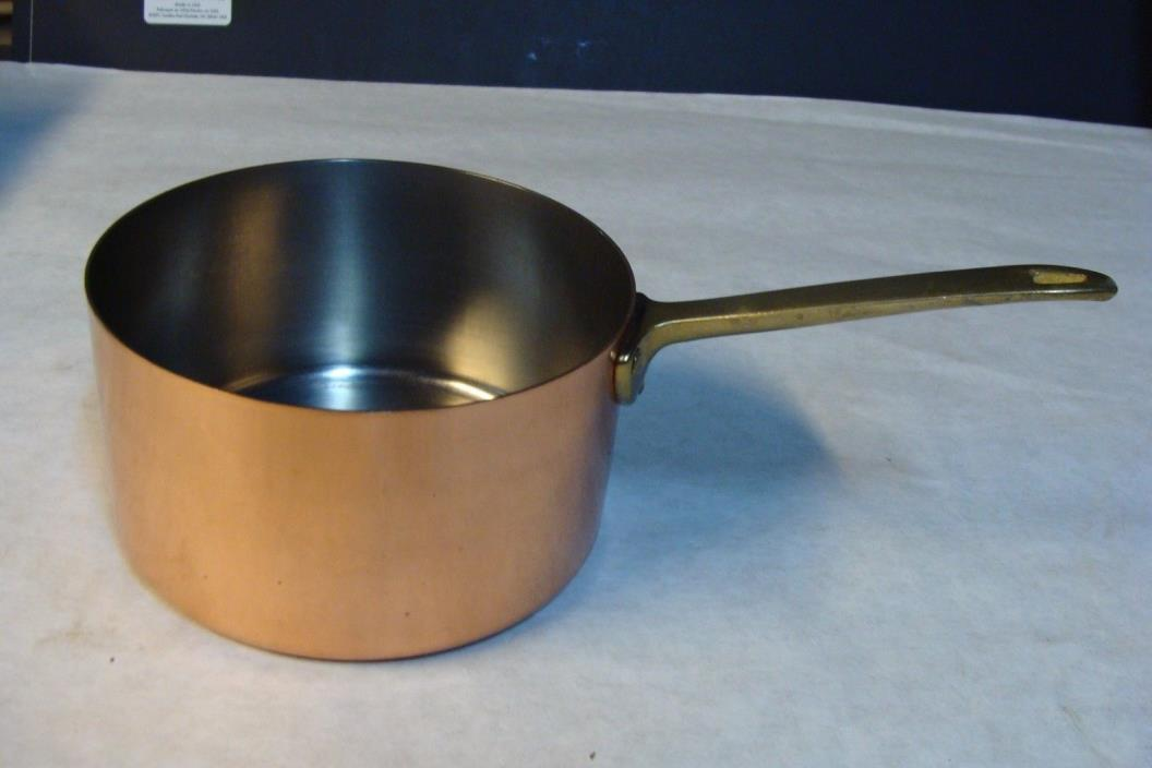 Rare Paul Revere Signature Copper 1 Qt sauce pan pot Brass Handle Excellent Cond