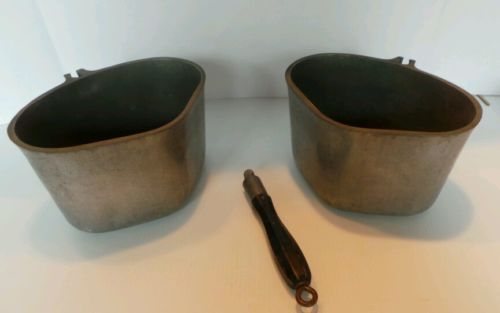 2 Vintage Modern Health Ware Heavy Cast Aluminum Triangular Pot / Pan w/ Handle