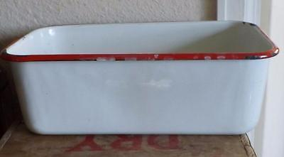 Vintage Farmhouse Enamelware Rectangle Pan White Red Rim 4 1/4