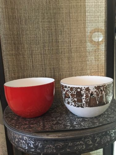 Two Bowls - 1 Figgjo Flint Turi Design  Enamelware Bowl 1- Norway Danish Scan 13