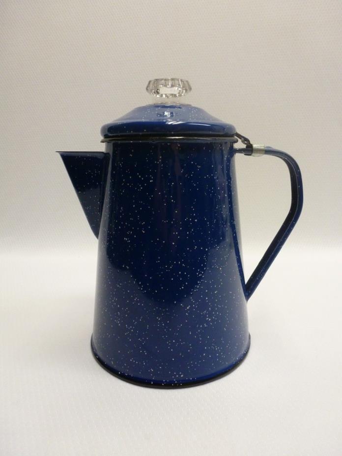 Blue Speckled Enamel Coffee Pot Percolator Glass Top