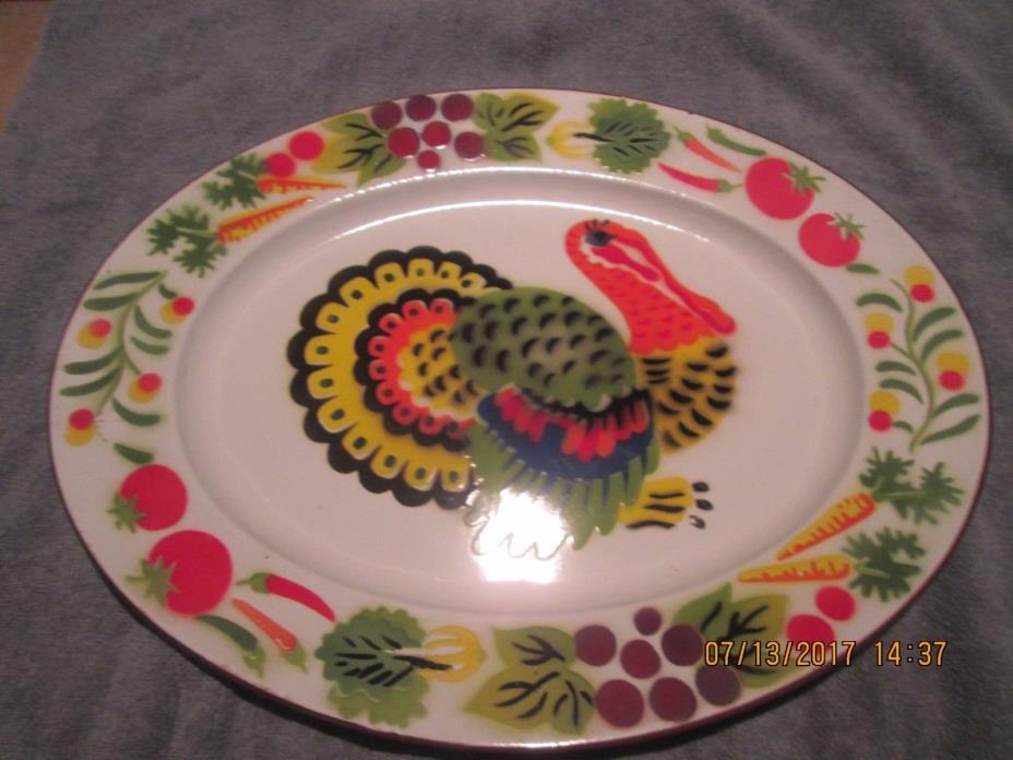 Vintage Enamel Turkey Platter