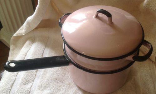 Vintage Graniteware Enamelware Pink With Black Rim Double Boiler Kitchen Pot