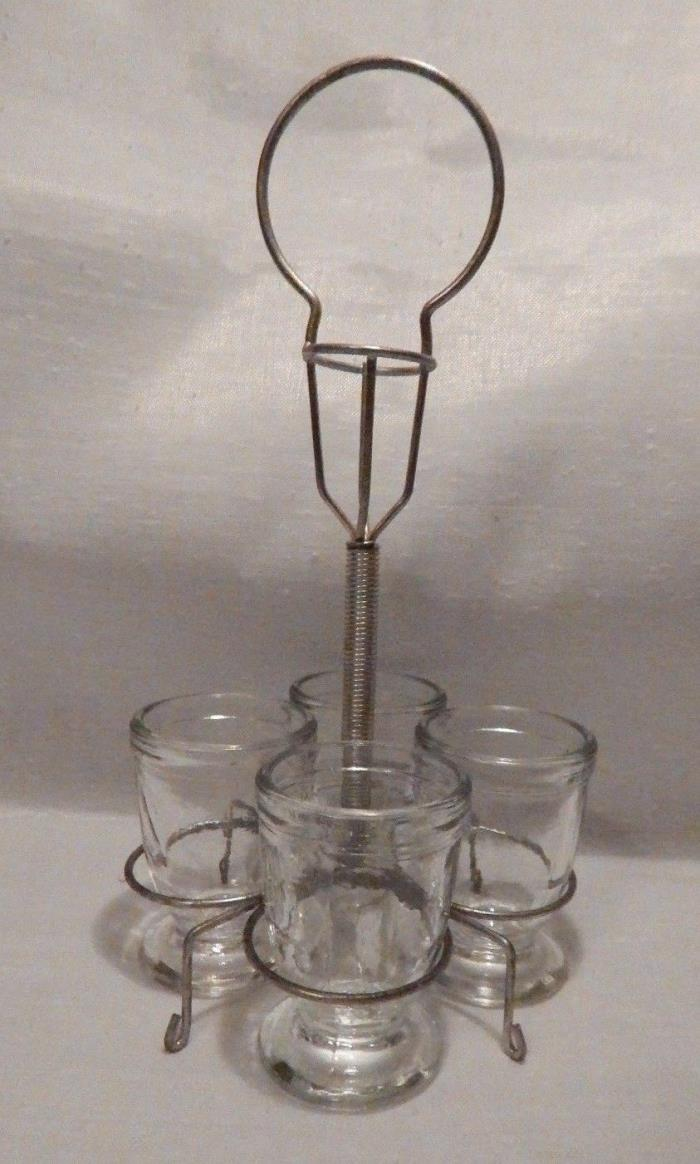 Vintage Glass Egg Cups with Metal Holder - Germany