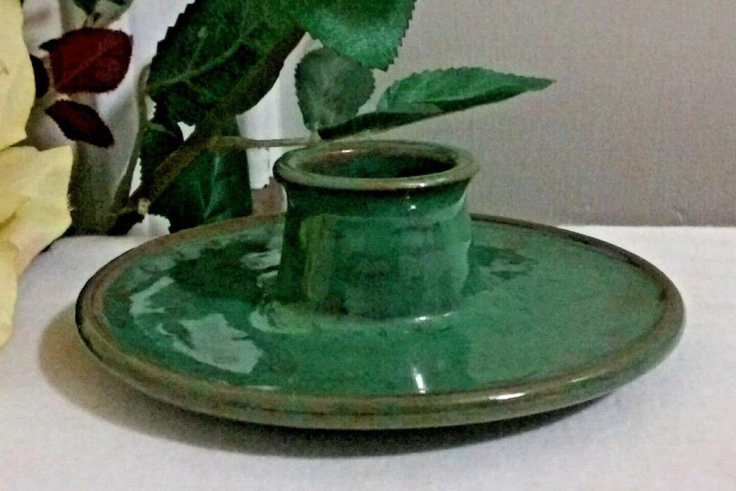 ART POTTERY Egg Cup UNDER PLATE HOLDER Green