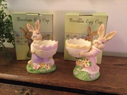 Easter Bunny Boy and  Girl Egg Cups  4  1/2