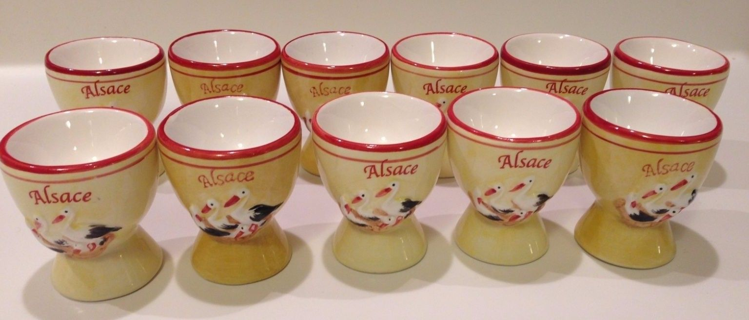 ELEVEN Egg Cups Holders Alsace France Stork Easter Yellow