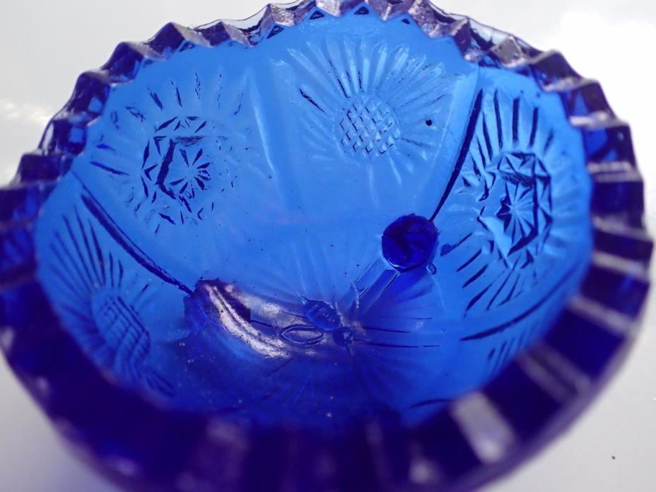 VINTAGE Set of Four (4) Cobalt Blue Glass BOILED EGG Holders!