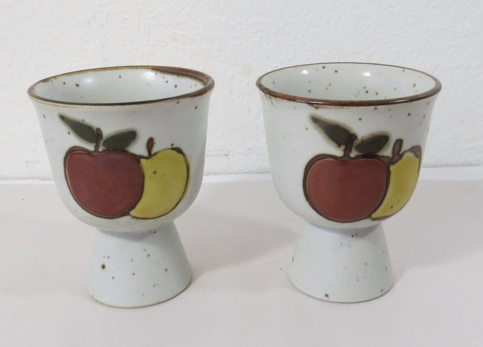 Soft Boiled Egg Holder - Egg Clay Pottery Cup Holder - Apple Decoration Set of 2