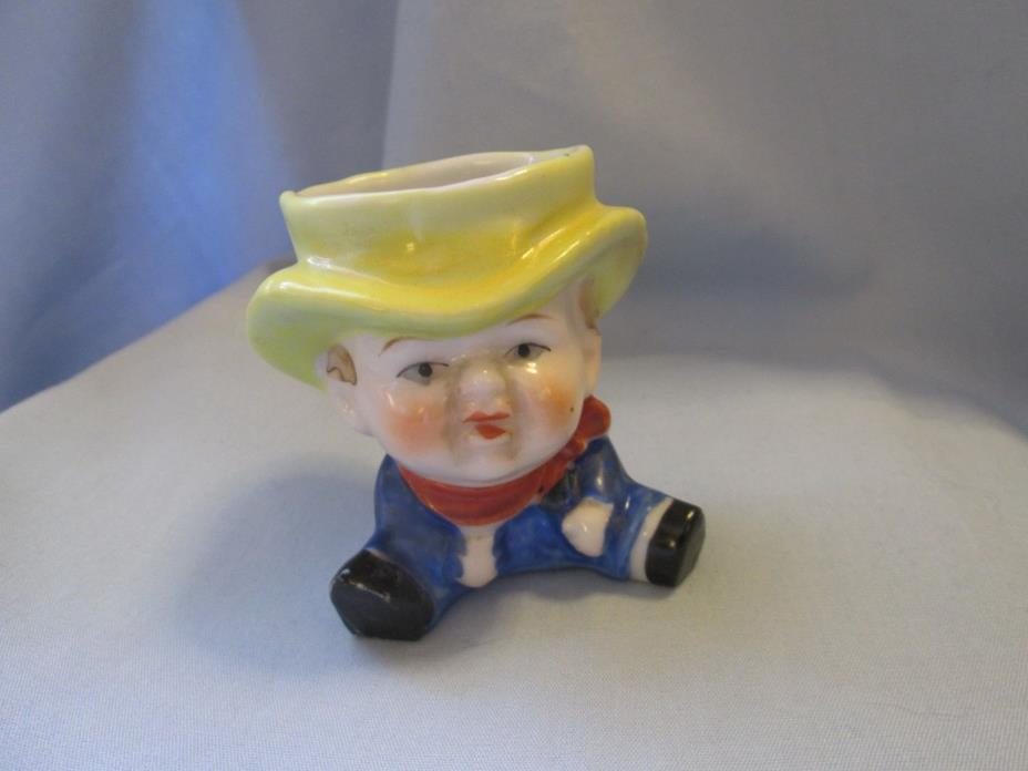 OLD CERAMIC BOY WITH SCARF & HAT EGG CUP MADE IN JAPAN