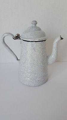 Vintage Graniteware Enamelware Black White Speckled Small Coffee Pot