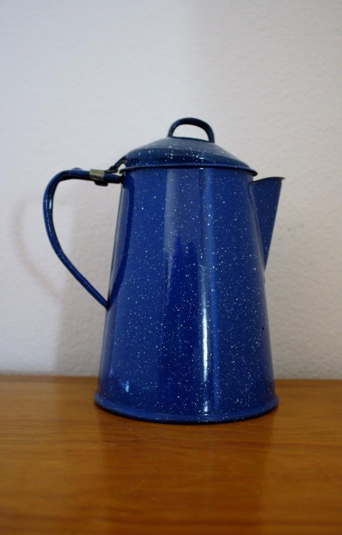 BLUE AND WHITE SPECKLED GRANITEWARE COFFEE POT